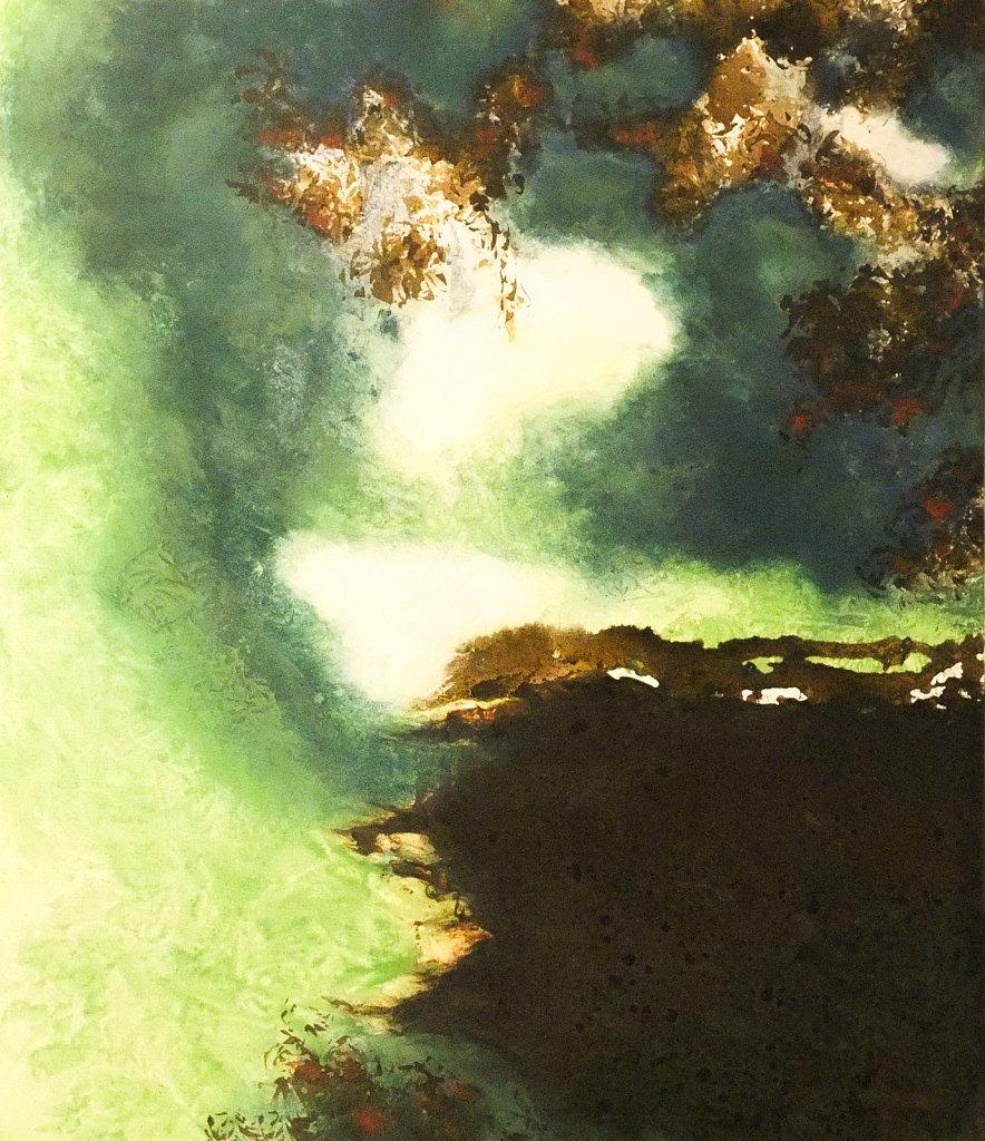 Sepiatusche über Gesso, Pigmentfarbe und Acryl auf Leinwand, 2003